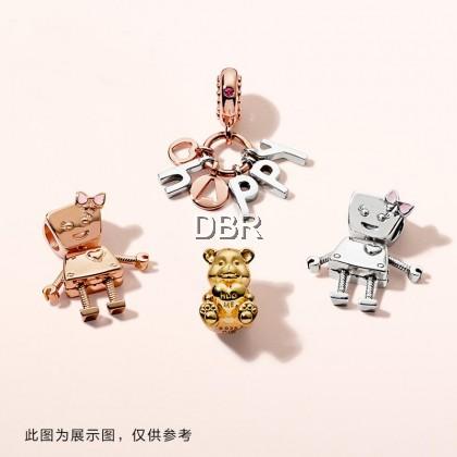 PANDOR ARose Gold Little Bella Silver String Ornaments 787141EN160 Movable Cute DIY Beads